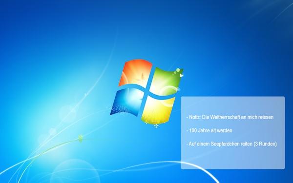 Desktop-Hintergrund mit meinen Zielen