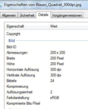 Dateieigenschaften 300dpi