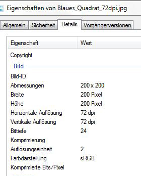 Dateieigenschaften 72dpi